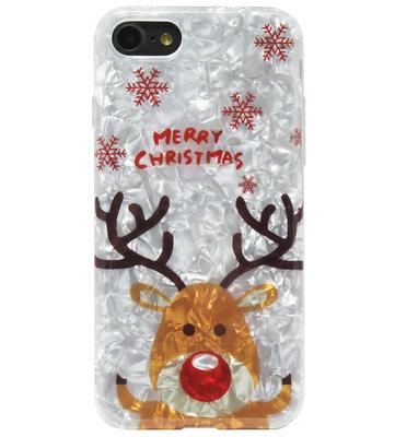 ADEL Siliconen Back Cover Softcase Hoesje voor iPhone SE (2020)/ 8/ 7 - Kerstmis Rendier Sneeuw