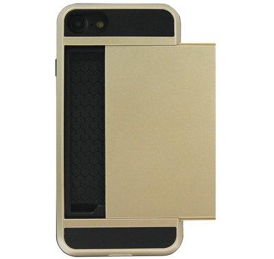ADEL Kunststof Back Cover Hardcase Hoesje voor iPhone SE (2020)/ 8/ 7 - Pasjeshouder Goud