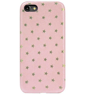 ADEL Siliconen Back Cover Softcase Hoesje voor iPhone SE (2020)/ 8/ 7 - Bling Bling Sterren Roze