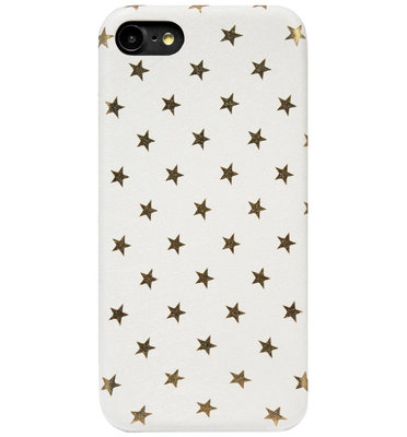 ADEL Siliconen Back Cover Softcase Hoesje voor iPhone SE (2020)/ 8/ 7 - Bling Bling Sterren Wit