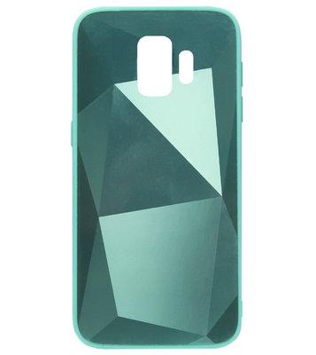 ADEL Siliconen Back Cover Softcase Hoesje voor Samsung Galaxy S9 - Spiegel Diamanten Groen