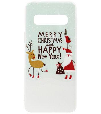 ADEL Siliconen Back Cover Softcase Hoesje voor Samsung Galaxy S10 - Kerstmis Kerstman Rendier