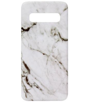 ADEL Kunststof Back Cover Hardcase Hoesje voor Samsung Galaxy S10 - Marmer Wit