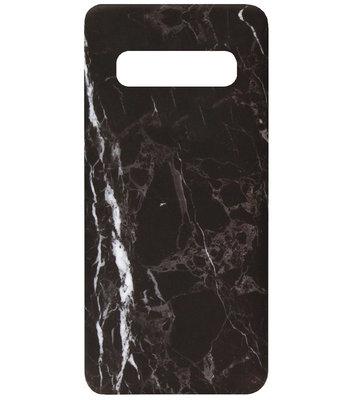 ADEL Kunststof Back Cover Hardcase Hoesje voor Samsung Galaxy S10 - Marmer Zwart