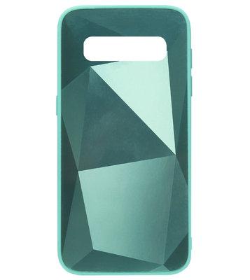 ADEL Siliconen Back Cover Softcase Hoesje voor Samsung Galaxy S10 - Spiegel Diamanten Groen
