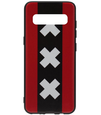 ADEL Siliconen Back Cover Softcase Hoesje voor Samsung Galaxy S10 - Amsterdam Andreaskruisen