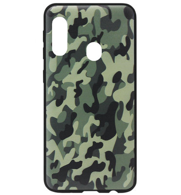 ADEL Siliconen Back Cover Softcase Hoesje voor Samsung Galaxy A40 - Camouflage