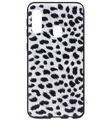 ADEL Siliconen Back Cover Softcase Hoesje voor Samsung Galaxy A40 - Luipaard Wit