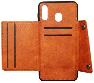 ADEL Kunstleren Back Cover Portemonnee Pasjes Hoesje voor Samsung Galaxy A40 - Passenhouder Bruin