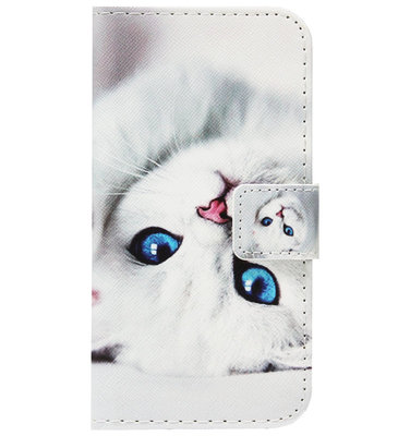 ADEL Kunstleren Book Case Portemonnee Pasjes Hoesje voor Samsung Galaxy A40 - Katten Wit
