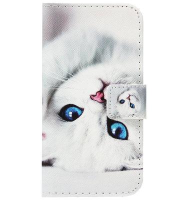 ADEL Kunstleren Book Case Portemonnee Pasjes Hoesje voor Samsung Galaxy A50(s)/ A30s - Katten Wit