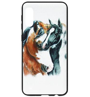 ADEL Siliconen Back Cover Softcase Hoesje voor Samsung Galaxy A70(s) - Paarden Bruin Zwart