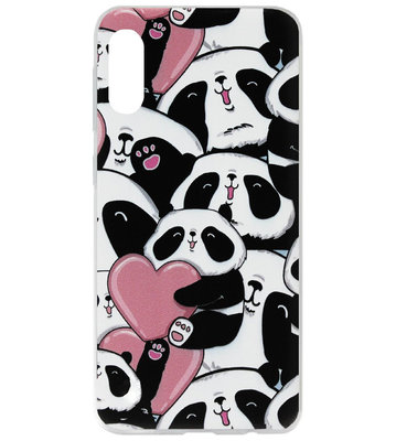 ADEL Siliconen Back Cover Softcase Hoesje voor Samsung Galaxy A70(s) - Panda Hartjes