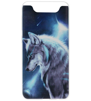 ADEL Siliconen Back Cover Softcase Hoesje voor Samsung Galaxy A80/ A90 - Wolf Blauw