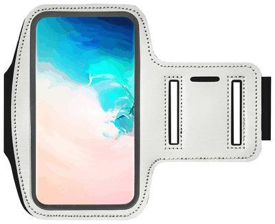 ADEL Sportarmband 5.5 Inch Microfiber Hoesje voor Samsung Galaxy M30s - Wit