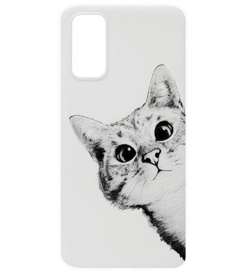 ADEL Siliconen Back Cover Softcase Hoesje voor Samsung Galaxy S20 - Katten Wit