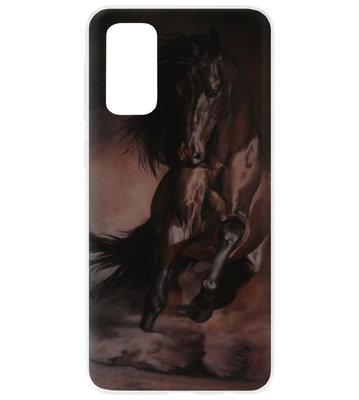 ADEL Siliconen Back Cover Softcase Hoesje voor Samsung Galaxy S20 - Paarden Zwart