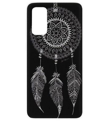 ADEL Siliconen Back Cover Softcase Hoesje voor Samsung Galaxy S20 - Dromenvanger Mandala Zwart Wit