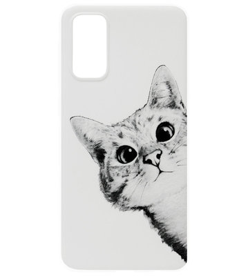 ADEL Siliconen Back Cover Softcase Hoesje voor Samsung Galaxy S20 Ultra - Katten Wit