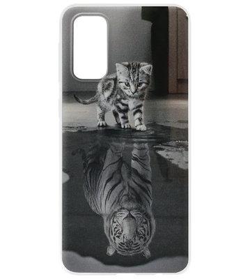 ADEL Siliconen Back Cover Softcase Hoesje voor Samsung Galaxy S20 Plus - Poezen Schaduw Tijger