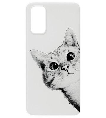 ADEL Siliconen Back Cover Softcase Hoesje voor Samsung Galaxy S20 Plus - Katten Wit