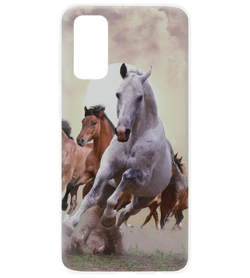 ADEL Siliconen Back Cover Softcase Hoesje voor Samsung Galaxy S20 Plus - Paarden Wit Bruin