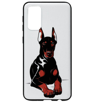 ADEL Siliconen Back Cover Softcase Hoesje voor Samsung Galaxy S20 Plus - Dobermann Pinscher Hond