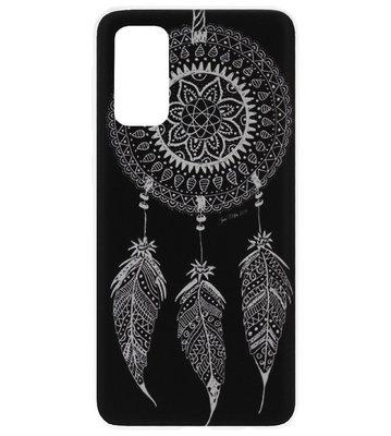 ADEL Siliconen Back Cover Softcase Hoesje voor Samsung Galaxy S20 Plus - Dromenvanger Mandala Zwart Wit