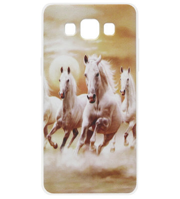 ADEL Siliconen Back Cover Softcase Hoesje voor Samsung Galaxy A5 (2015) - Paarden Wit