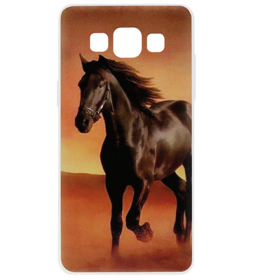 ADEL Siliconen Back Cover Softcase Hoesje voor Samsung Galaxy A5 (2015) - Paarden Zwart