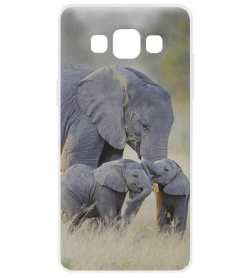 ADEL Siliconen Back Cover Softcase Hoesje voor Samsung Galaxy A5 (2015) - Olifant Familie