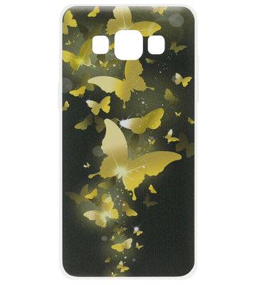 ADEL Siliconen Back Cover Softcase Hoesje voor Samsung Galaxy A5 (2015) - Vlinder Goud