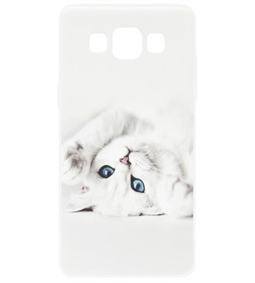 ADEL Siliconen Back Cover Softcase Hoesje voor Samsung Galaxy A5 (2015) - Katten Wit