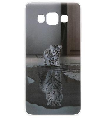 ADEL Siliconen Back Cover Softcase Hoesje voor Samsung Galaxy A5 (2015) - Poezen Schaduw Tijger Doorzichtig