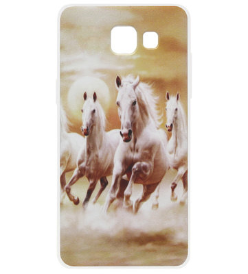 ADEL Siliconen Back Cover Softcase Hoesje voor Samsung Galaxy A3 (2016) - Paarden Wit