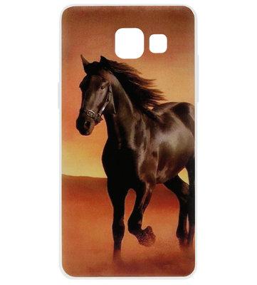 ADEL Siliconen Back Cover Softcase Hoesje voor Samsung Galaxy A3 (2016) - Paarden Zwart