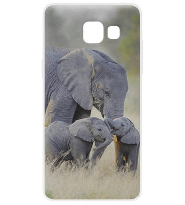 ADEL Siliconen Back Cover Softcase Hoesje voor Samsung Galaxy A3 (2016) - Olifant Familie