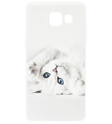 ADEL Siliconen Back Cover Softcase Hoesje voor Samsung Galaxy A3 (2016) - Katten Wit