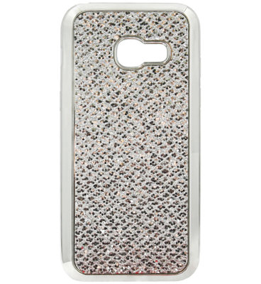 ADEL Siliconen Back Cover Softcase Hoesje voor Samsung Galaxy A3 (2016) - Bling Bling Glitter Zilver