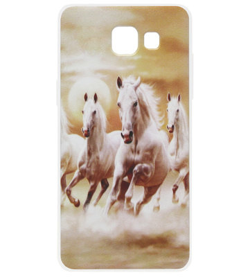 ADEL Siliconen Back Cover Softcase Hoesje voor Samsung Galaxy A3 (2017) - Paarden Wit
