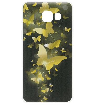 ADEL Siliconen Back Cover Softcase Hoesje voor Samsung Galaxy A3 (2017) - Vlinder Goud