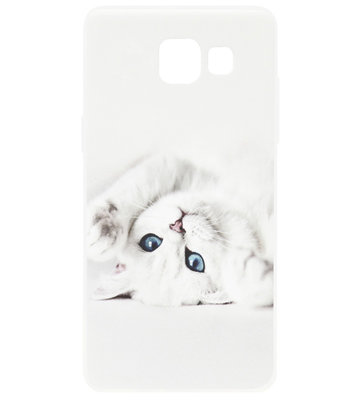 ADEL Siliconen Back Cover Softcase Hoesje voor Samsung Galaxy A3 (2017) - Katten Wit