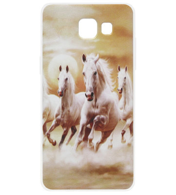 ADEL Siliconen Back Cover Softcase Hoesje voor Samsung Galaxy A5 (2017) - Paarden Wit