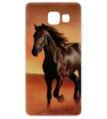 ADEL Siliconen Back Cover Softcase Hoesje voor Samsung Galaxy A5 (2017) - Paarden Zwart