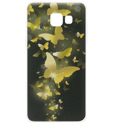 ADEL Siliconen Back Cover Softcase Hoesje voor Samsung Galaxy A5 (2017) - Vlinder Goud
