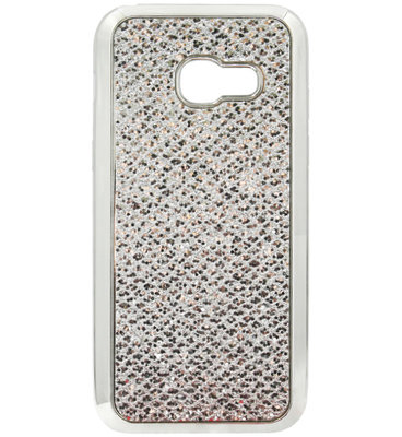 ADEL Siliconen Back Cover Softcase Hoesje voor Samsung Galaxy A3 (2017) - Bling Bling Glitter Zilver