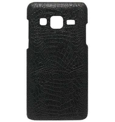 ADEL Kunststof Back Cover Hardcase Hoesje voor Samsung Galaxy J3 (2015)/ J3 (2016) - Krokodil Zwart