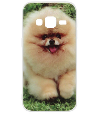 ADEL Siliconen Back Cover Softcase Hoesje voor Samsung Galaxy J3 (2015)/ J3 (2016) - Pomeriaanse Dwergkees Hond