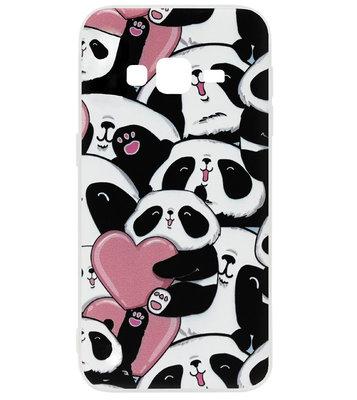 ADEL Siliconen Back Cover Softcase Hoesje voor Samsung Galaxy J7 (2015) - Panda Hartjes