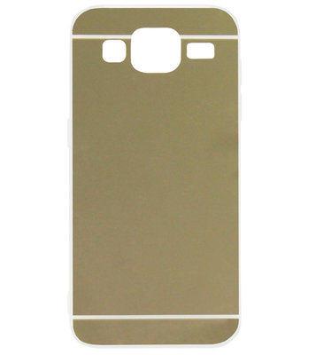 ADEL Siliconen Back Cover Softcase Hoesje voor Samsung Galaxy J3 (2015)/ J3 (2016) - Spiegel Goud